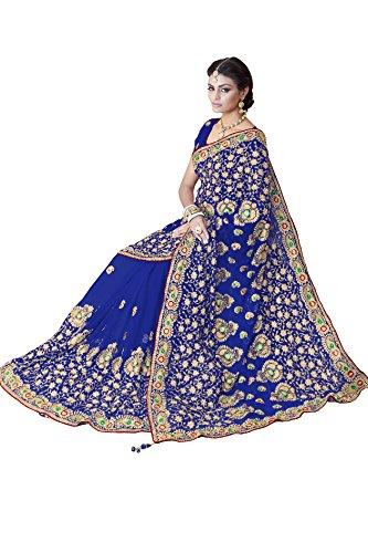 Women Faux Georgette Bridal Wedding Saree Mirchi Fashion Indian Sari(5244_Blue)