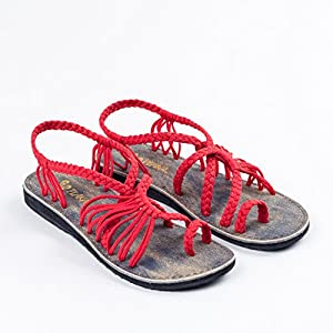 Plaka Flat Summer Sandals For Women by Red 9 Palm Leaf