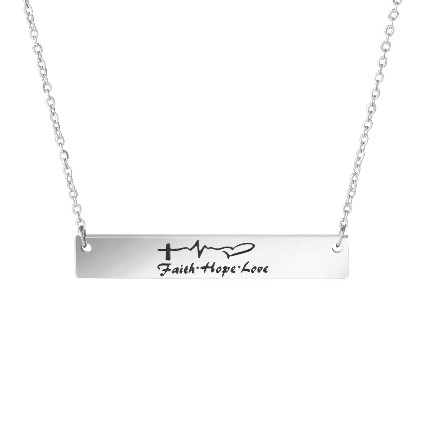 Awegift Faith Hope Love Inspirational Pendant Bar Necklace Women Gift Jewelry