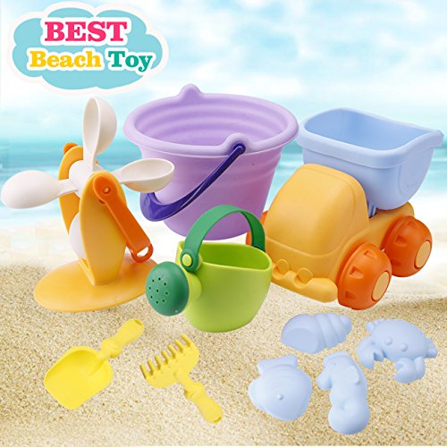 Beach Toys Set for Kids Toddlers Baby Sand Toys for Girls Boys, Soft 10 Pieces Pool Toy Set with Mesh Bag Truck Bucket Watering Can Water Whee Shovels Rakes,Fish Crab Sand Molds (10 Pieces Beach Toy) (Truck Pail)