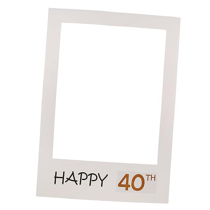 MagiDeal Marco de Foto Caseta Atrezo Feliz Cumpleaño 40th 50th Selfie Pabellón de Foto Grande de Papel Fondo Aniversario Accesorio de Suministro de Fiesta ...