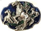 WILD MUSTANG HORSES BELT BUCKLE BY SISKIYOU