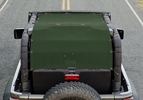 (ALIEN SUNSHADE 2-Door Jeep Wrangler Mesh Shade Top Cover Extra Long with 10 Year Warranty Provides UV Protection for Your 2-Door JK (2007-2017) (Forest Green))
