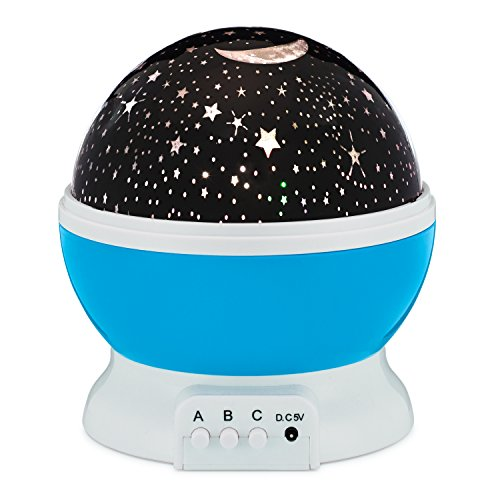 Star Night Light Rotating Indoor Projector Lamp Galaxy Moon & Space Twilight Ceiling Lighting for Baby Kids Children's Room, 4 LED Starry Rainbow & Cosmos Colors, Romantic Mood Sky Best 1 Nursery Gift by Bananas Over Baby