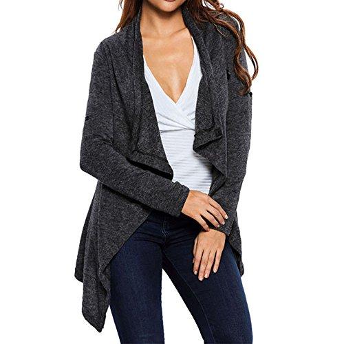 SEBOWEL Women's Asymmetric Hem Split Wrap Sweater Poncho Coat