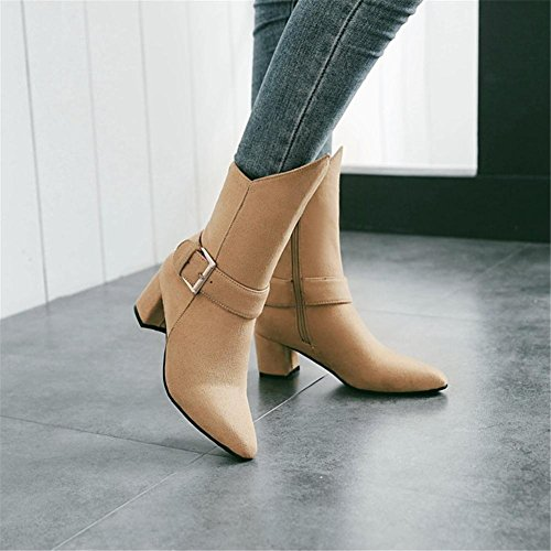 High Toe EUR42UK85 Work Wine Fall BROWN Buckle Black NVXIE Short Red Scrub Rough Party Heel Boots Belt Winter Pointed Ladies Women's qnORX8