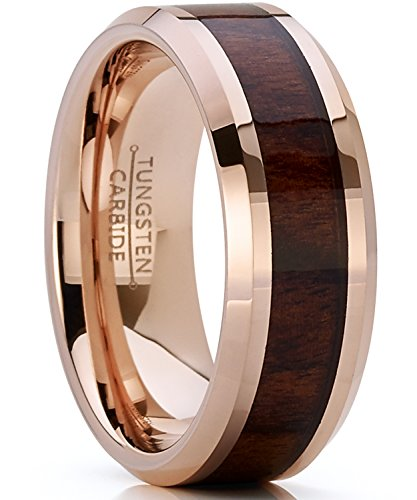 (Bonndorf Men's Women's Rose Tone Tungsten Carbide Wedding Band Engagement Ring, Real Wood Inlay, Comfort Fit 8mm)