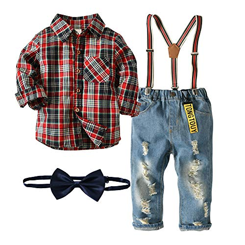 Nwada Little Boys Clothes Sets Bow Ties Shirts + Suspenders Pants Denim Jeans Toddler Boy Gentleman Outfits Suits Dark Red 5-6 Years