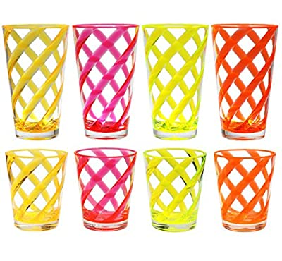 16 & 22 oz Multi-Color Twist Acrylic Plastic Cup Drinking Glass Tumbler Set of 8