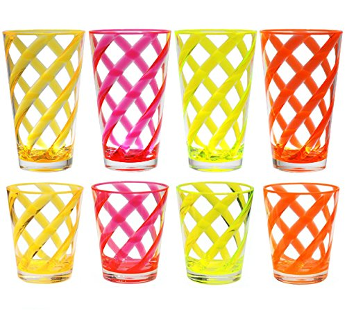 (16 & 22 oz Helix Stripes Acrylic Plastic Ice Tea Cup Drinking Glass Tumbler Set of 8 in assorted colors)