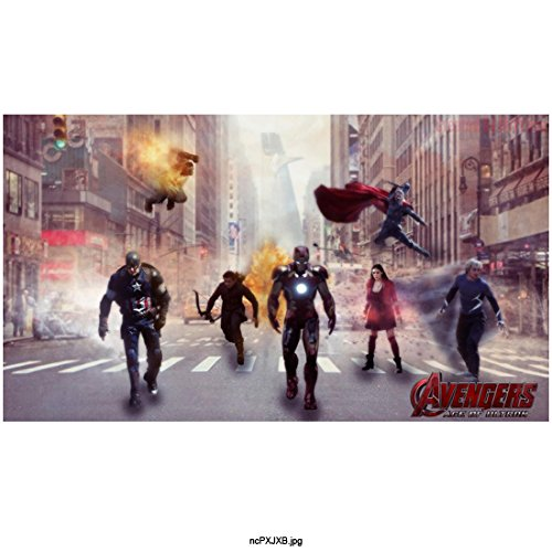 Avengers Age of Ultron, Iron Man, Captain America, Scarlet Witch, Quicksilver, Thor, Hawkeye and Hulk Walking Down City Street with Avengers Tower in Background 8 X 10 Inch Photo
