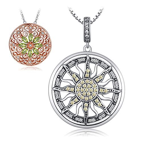 JewelryPalace Cubic Zirconia Large Celestial Sun Circle Pendant Necklace With 18 Inches Box Chain 925 Sterling Silver