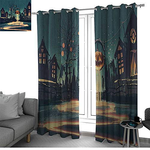 Fantasy Art House Decor Thermal Insulating Window Curtains Halloween Theme Night Pumpkin and Haunted House Ghost Town Artful Curtains for Bedroom Teal Orange W96 x L108 Inch ()