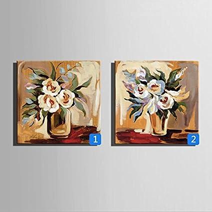 OPZLL Botellas, flores pintura al óleo pintada a mano decoración portaretrato, restaurante den pintura