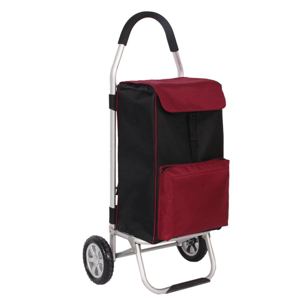 JJJJD アルミニウム合金ポータブルショッピングカート、ショッピング、折りたたみ、荷物、小型カート、新鮮な機能、大容量、実用 B07RTT5MBQ