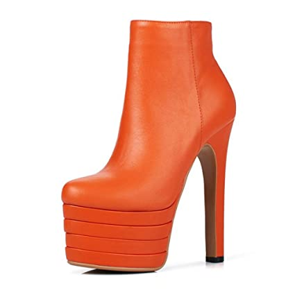 4391e339b Hy Women's Booties,Fall/Winter New Round Toe Super High Heel Ankle Boots,