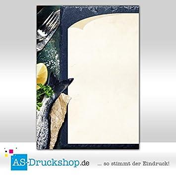 Designpapier Fisch 50 Blatt Fischkarte DIN A4 Maritimes