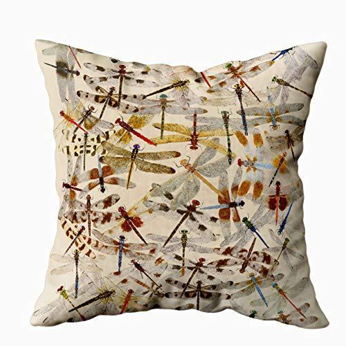 EMMTEEY Home Decor Throw Pillowcase for Sofa Cushion Cover, 2 Sided Dragonfly Decorative Square Accent Zippered and Double Sided Printing Pillow Case Covers 20X20Inch