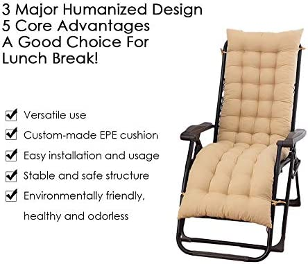 Bench Chair Cushion Sundlight Patio Replacement Cushions Chaise Patio Outdoor Mattress Garden Recliner Quilted Thick Padded Seat Cushion Reclining Rocking Chair with Ties