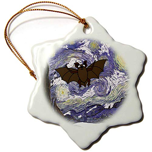 (3dRose All Smiles Art - Funny - Funny Cute Flying Bat in Starry Night Van Gogh Art - 3 inch Snowflake Porcelain Ornament)