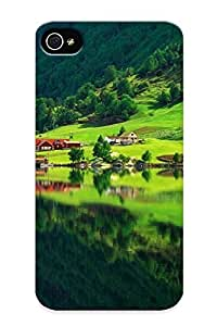 Freshmilk E1965251113 Protective Case For Iphone 4/4s(nordic Town By The Lake ) - Nice Gift For Lovers