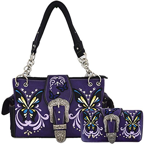 (Western Style Butterfly Tooled Buckle Concealed Carry Purse Country Handbag Women Shoulder Bag Wallet Set (Purple))