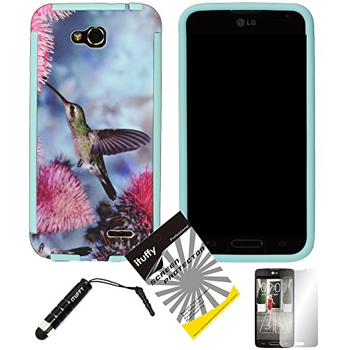 3 items Combo: ITUFFY (TM) LCD Screen Protector Film + Mini Stylus Pen + Hummingbird Design Wrap-Up Cover Faceplate Skin Phone Case for LG Optimus L90 / LG D415 (T-Mobile) (Hummingbird - Light Blue) (Lg L90 Phone Cover T Mobile)
