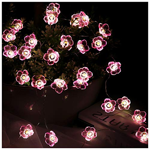 Flower String Lights Pink Cherry Blossom 30 LED Centerpieces Fairy Night Light Battery Operated Waterproof Indoor Bedroom Children Girls Room Wall Decor Wedding Birthday Party Decorations 10FT (Wall Cherry Light Blossom)