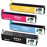 J2INK 4 Pack High Yield Ink Cartridge Replacement for 974 974A PageWide Ink Cartridge Black Cyan Magenta Yellow L0R96AL L0R87AL L0R90AL L0R93AL