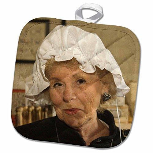 3dRose Danita Delimont - Virginia - Woman in hair bonnet, Williamsburg, Virginia - US47 JME0103 - John and Lisa Merrill - 8x8 Potholder (Colonial Costume Williamsburg)