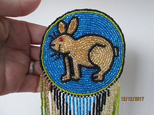 Hand beaded Rabbit bunny Gold blue disc medallion Guatemalan Fair trade design hair clip barrette glass seed beads regalia pow wow. Guatemala ...Native American design style Rabbit Medallions