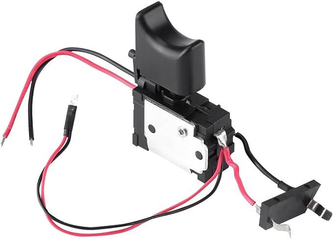 Akozon 19mm 12V LED ON//OFF Noir Interrupteur /à bouton-poussoir /à verrouillage automatique et /à verrouillage automatique Bleu Interrupteur /à verrouillage automatique