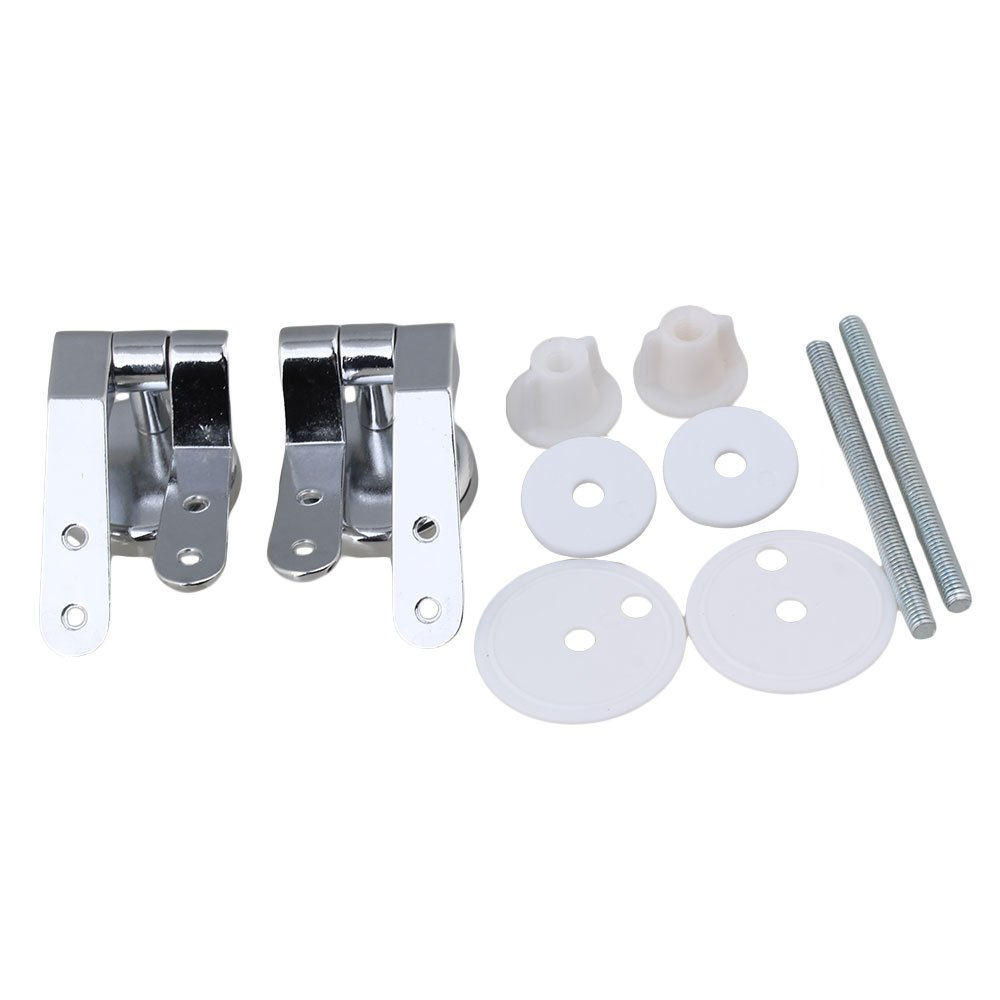 Kit charni/ère de remplacement r/éparation cuvette de WC g/én/érique robuste avec fixations pour toilettes Argent lot de 2