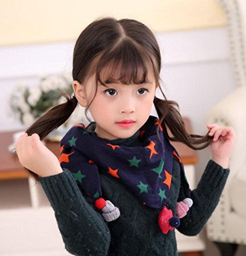 LTDD Cute Childrens Scarves Star Tassel Printing Neckerchief Neck Warmer Scarves Triangle Towel