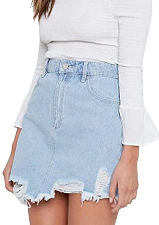 b0f95e635f Suncolor8 Women's High Waisted High Low Ripped Destroyed Bodycon Jean Denim  Skirts Light Blue XXS