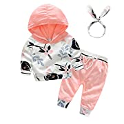Tem Doger 3Pcs Baby Girls Cute Pink Floral Hoodie Sweatshirt+Polka Dots Pants Outfits Set (70/0-6 Months)