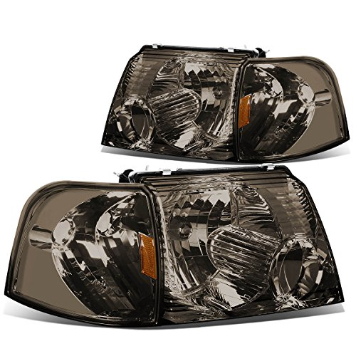 DNA Motoring HL-OH-FEXP024P-SM-AM Smoke Lens Amber Projector Headlights Replacement For 02-05 Explorer