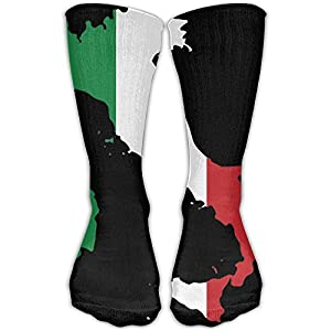 DaCrew Italy Flag Map Unisex Novelty Crew Socks Ankle Dress Socks Fits Shoe Size 6-10