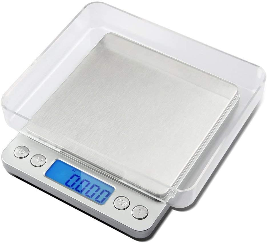 Multifunction Digital LCD Screen Pocket Scales,with Large Plastic Platform and Blue Backlit Display,6 Weighing Units,Tare Function Supplied (0.1g to 1000g)