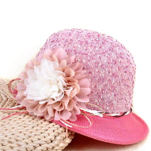 LOCOMO Beach Flower Cloche Hemp Straw Sun Brim Hat Cap Pink FFH041PNK
