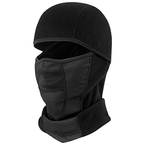 JIUSY Thermal Fleece Balaclava Outdoor Windproof Neck Warmer Full Face Mask for Motorcycle Cycling Skiing Snowboarding Hunting Moisture Wicking Head Hood Cover Warm Gear Black BI-C-03