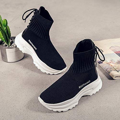 Zapatos Señoras Hip de Deportivo Botas Caminata Estilo Estudiantes Alta de Calzado Calcetines negro Marea Lucdespo Casual Hop O6qRwx11d