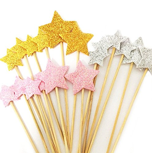 DoTebpa 48 Pieces Little Star Toppers,Food Baby Shower Decor and Cupcake Party Picks ()