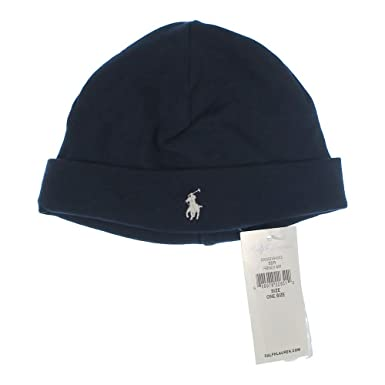 c114fa3d031 Ralph Lauren Baby boy Girl Crib hat Beanie 0-9 mths Navy Blue   Amazon.co.uk  Clothing