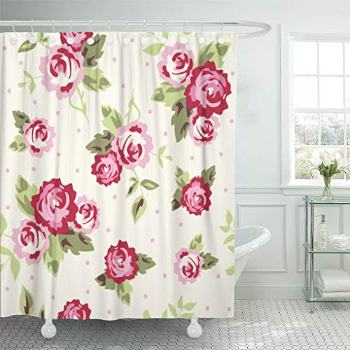 Emvency Shower Curtain Pink Floral Ditsy Dot Rose Flower Shower Curtains Sets with Hooks 72 x 72 Inches Waterproof Polyester Fabric (Garden Pin Dot Fabric)