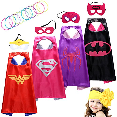 [Superhero Costumes Girls Capes and Masks with Silicone Glow Bracelets and HeadBand] (A Superhero Costume)