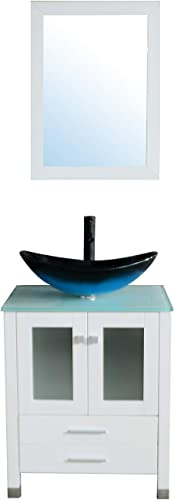 Sliverylake 24 Bathroom Vanity Tempered Glass Vessel Sink Combo Cabinet Countertop Sink Bowl w Mirror Set Blue Oval