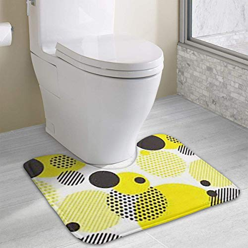 Beauregar Dot Yellow Black Contour Bath Rugs,U-Shaped Bath Mats,Soft Polyester Bathroom Carpet,Nonslip Toilet Floor MatMachine Wash, 19.2″x15.7″
