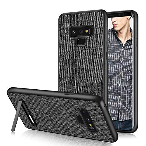Note 9 Case,Galaxy Note 9 Case Fabric,DUEDUE Shockproof Slim Hybrid Hard PC Cover Kickstand with Linen Cloth Canvas Leather Protective Case for Samsung Galaxy Note 9 for Men/Boys,Grey/Black