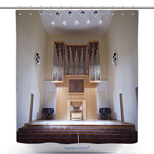 vanfan Durable Shower Curtains Massive Wooden Pipe Organ In